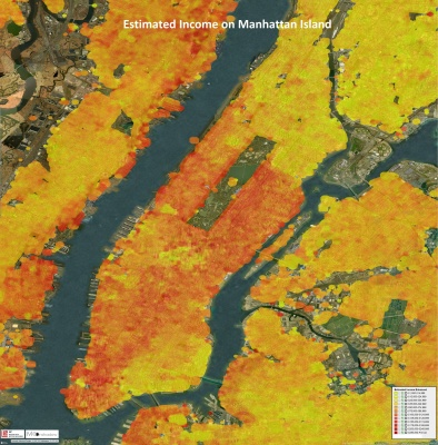 Income on Manhattan Island from lower incomes in yellow to higher incomes in red.