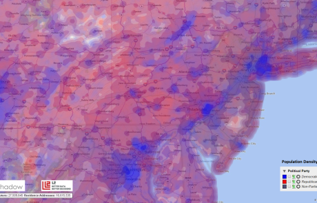 Population Density and Political Party Registration in Pittsburg/NY/DC Triangle