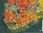Income in Manhattan projected over Aerial Photos