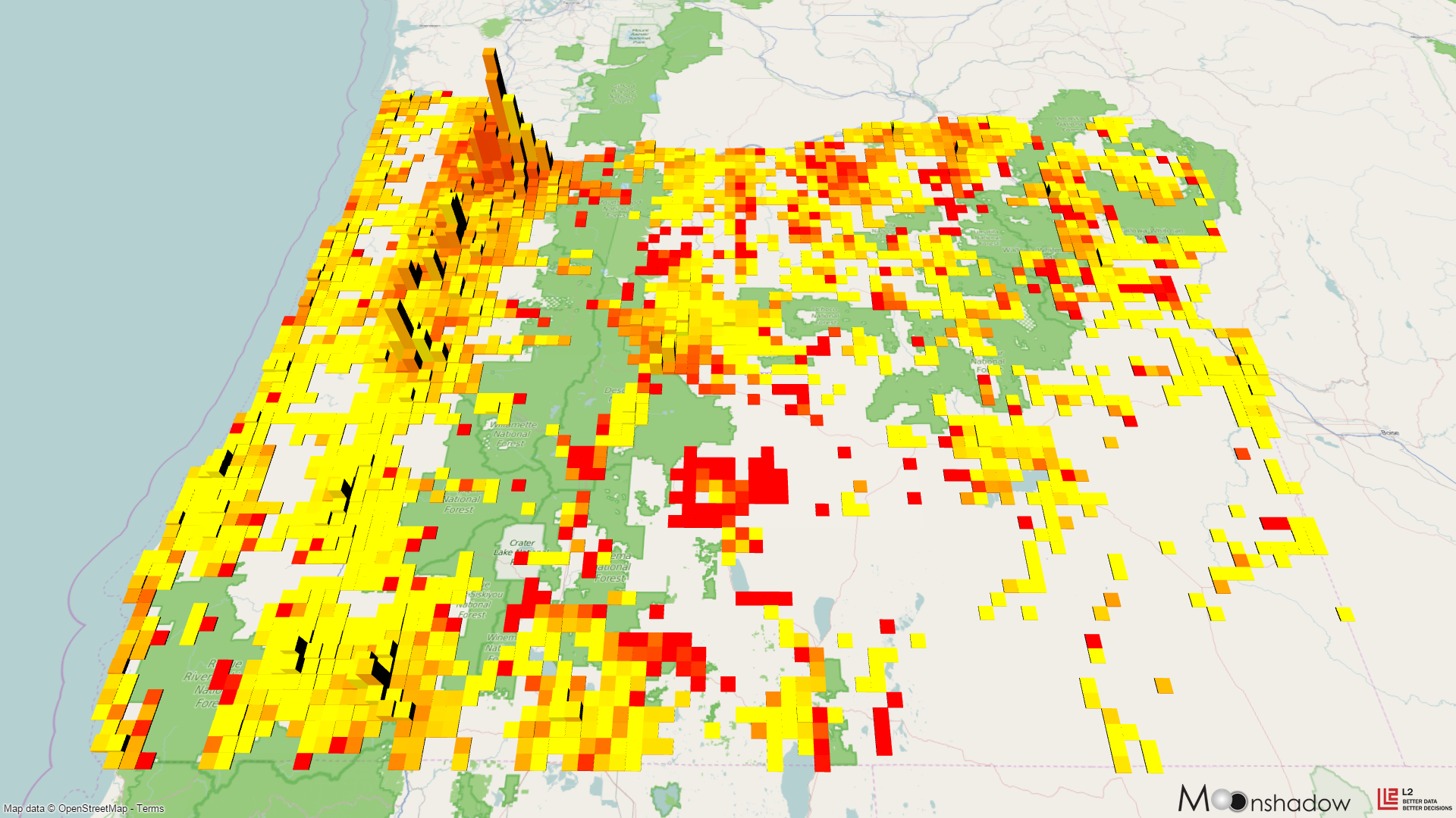 3D Map of Oregon State Income Deciles
