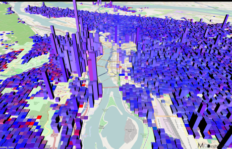 3D Map of Portland Proportional Population from Ross Island Bridge