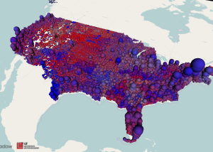 3D Map of U.S. Voters by Party Registration - Bubbles