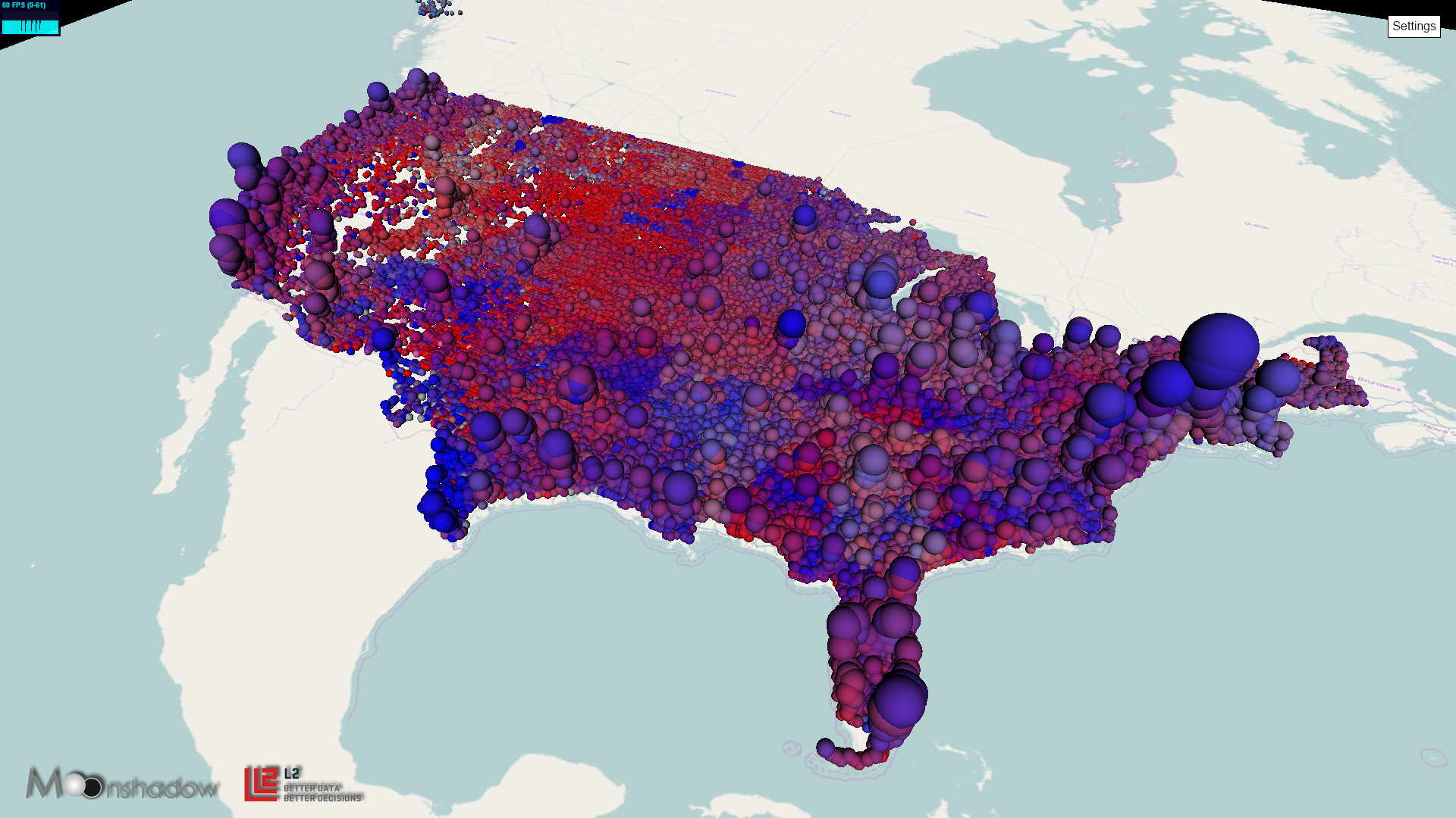 D Map Of US Voters By Party Registration Bubbles Moonshadow - Us political party map