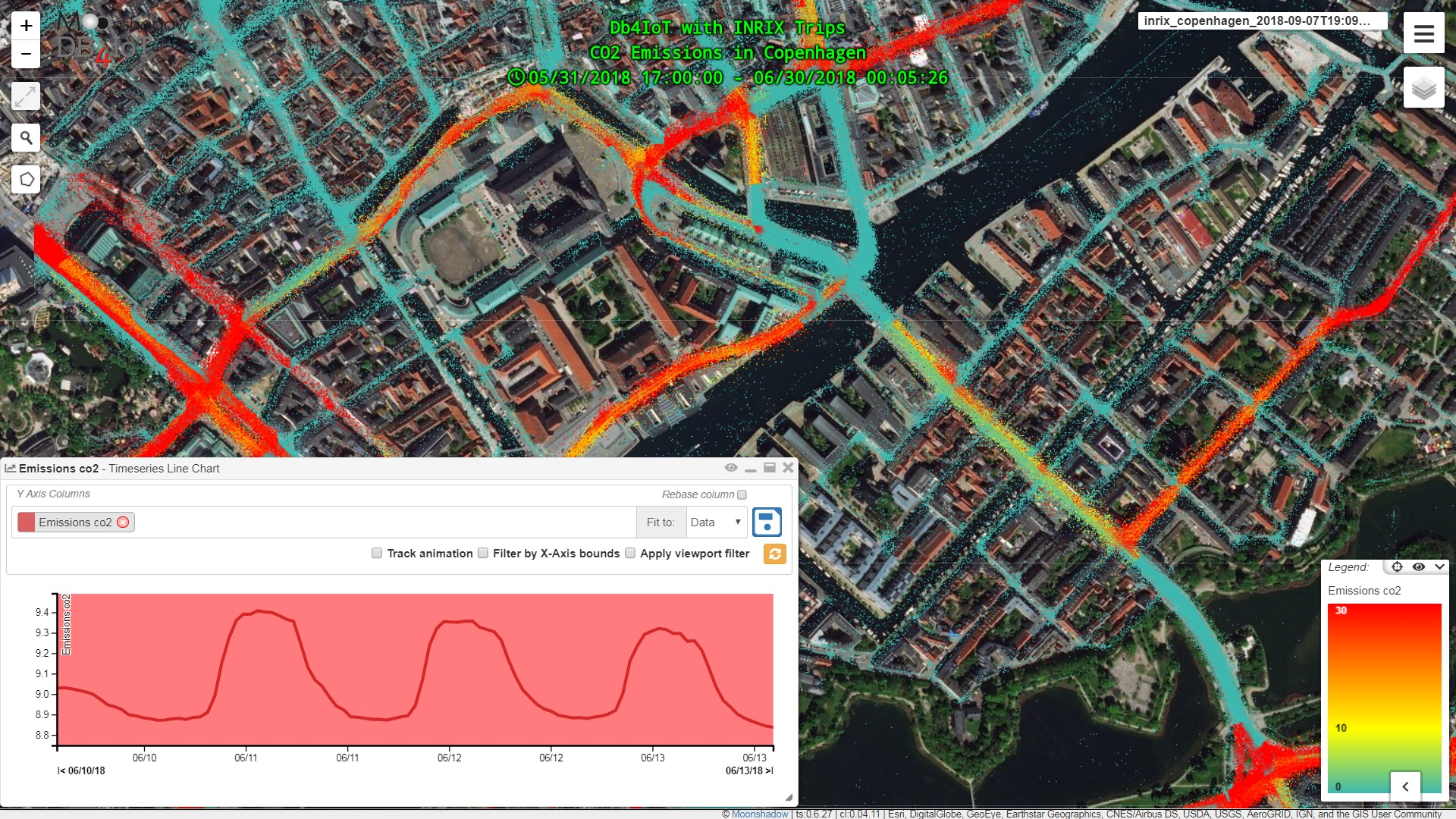DB4IoT with INRIX Trips - CO2 Emissions in Copenhagen over Satellite Zoom 15